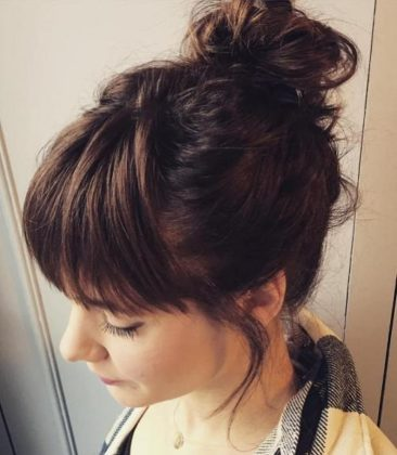 Cut Bangs With Braided Bun