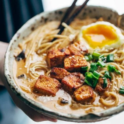 Japanese dish spicy ramen with tofu