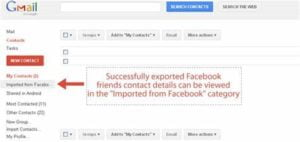 facebook contact from gmail