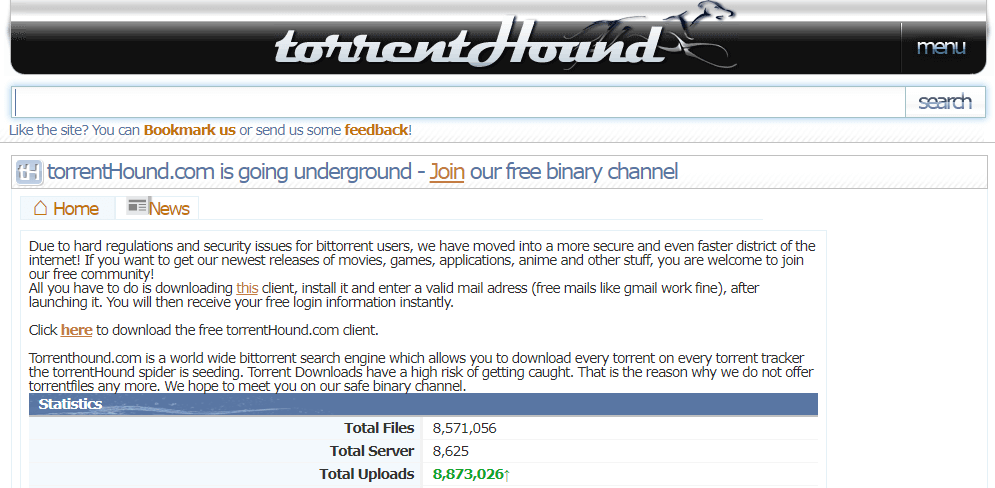 TorrentHound Ebook Torrent Site