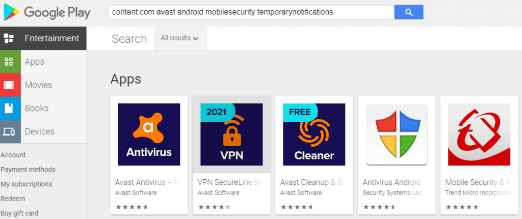 "content://com.avast.android.mobilesecurity/temporaryNotifications or ""content com avast android mobilesecurity temporarynotifications"