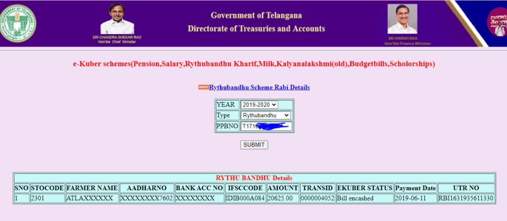 Rythu Bandhu Scheme Money Status