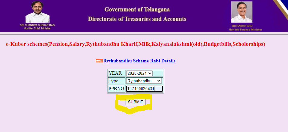 Rythu Bandhu Treasury-telangana-gov-in-Submit