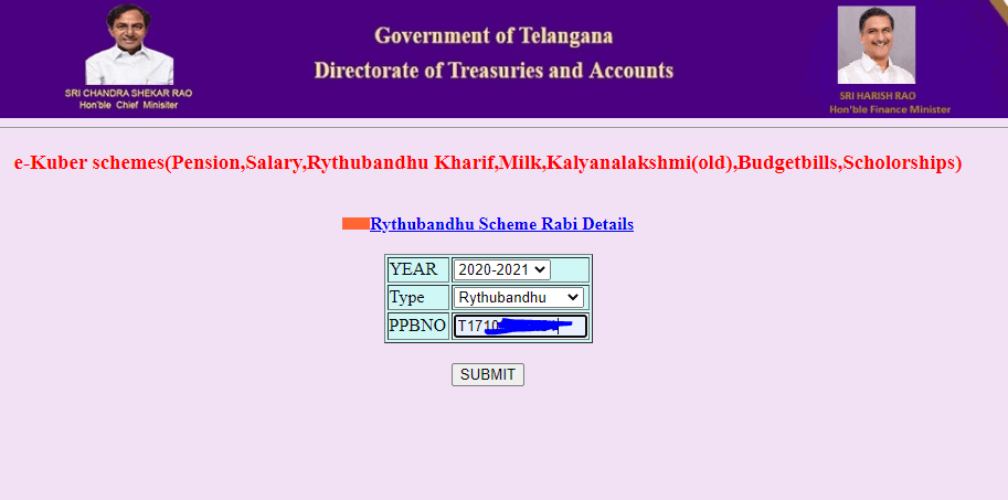 Rythu bandhu Treasury-telangana-gov-in-enter-ppb-number