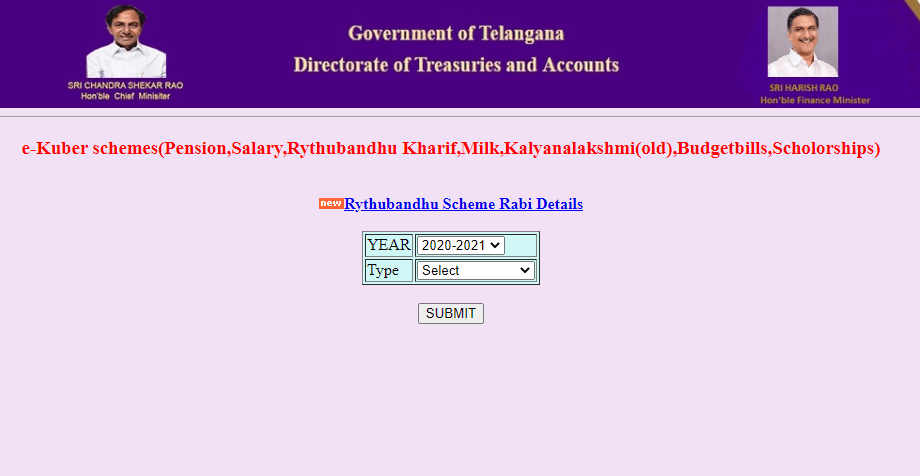 Rythu Bandhu Treasury-telangana-gov-in-select-year