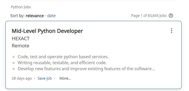Python developer jobs