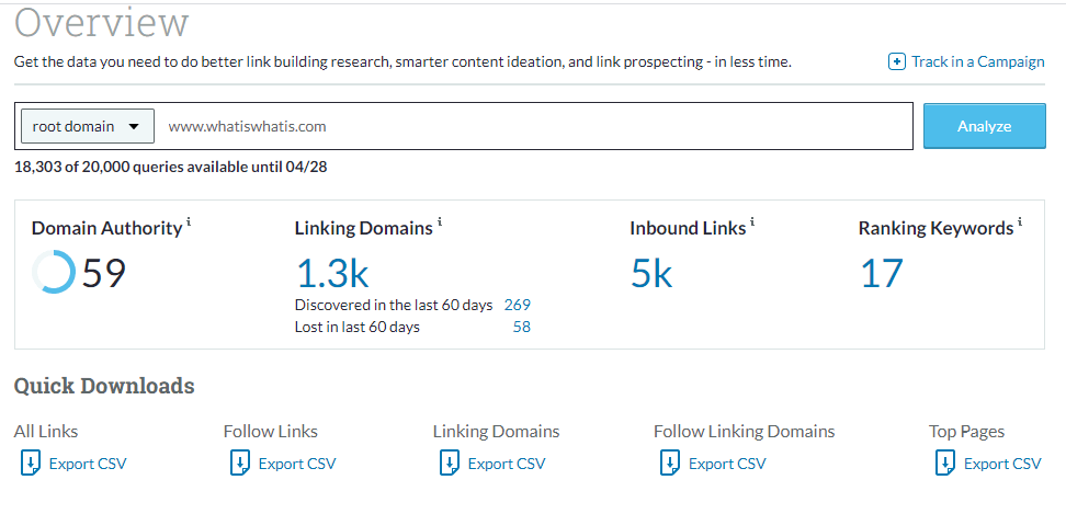 MOZ Link Research Tool